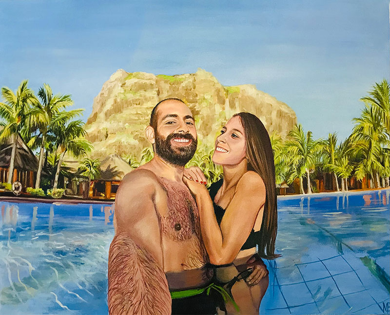 Custom handmade oil painting of a couple in pool