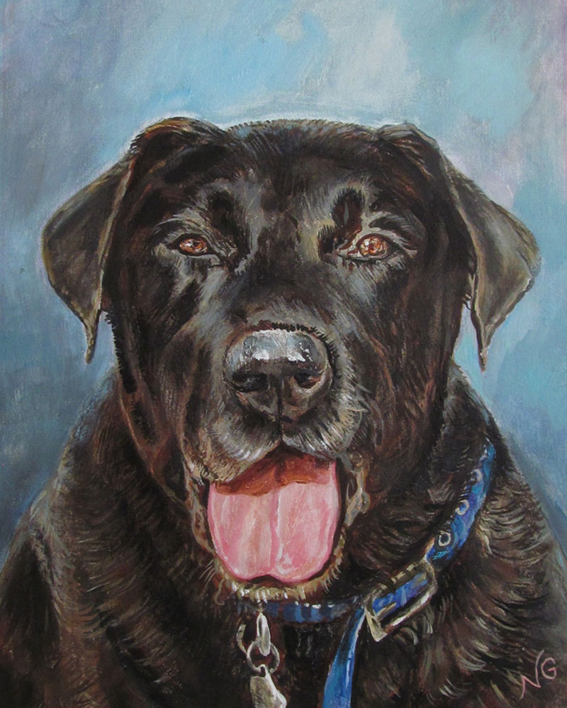 Close up oil painting of a dog with blue background