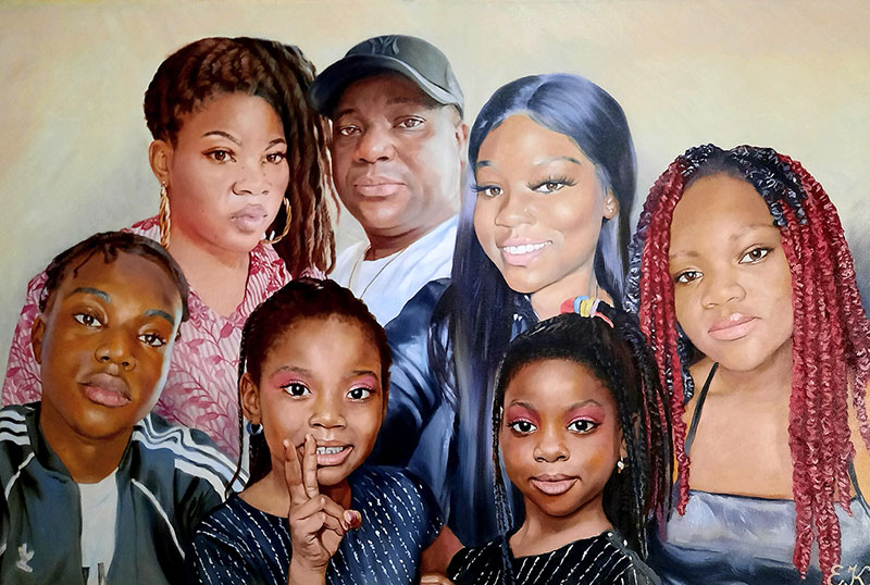 Beautiful handmade painting of a family in oil
