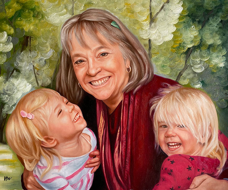 Gorgeous oil painting of a grandmother with grandchildren