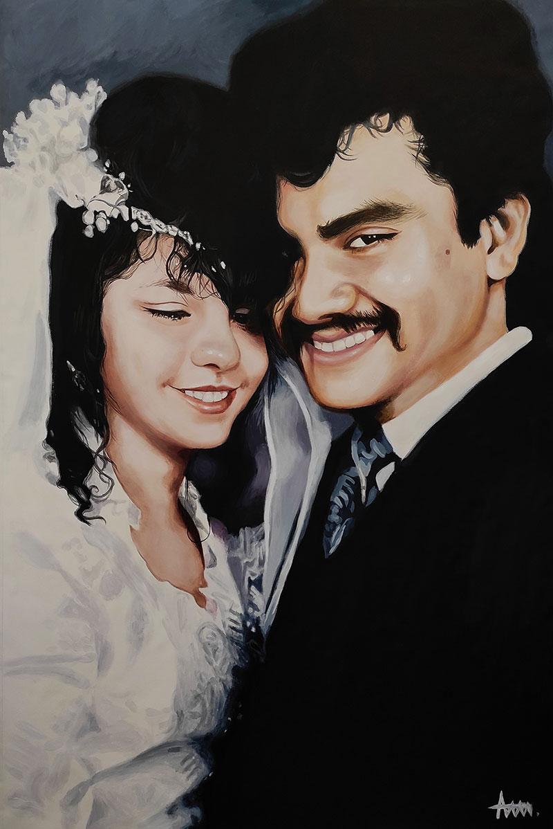 Beautiful vintage acrylic wedding portrait of a couple