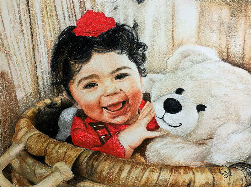 Beautiful color pencil drawing of a little girl with a teddy