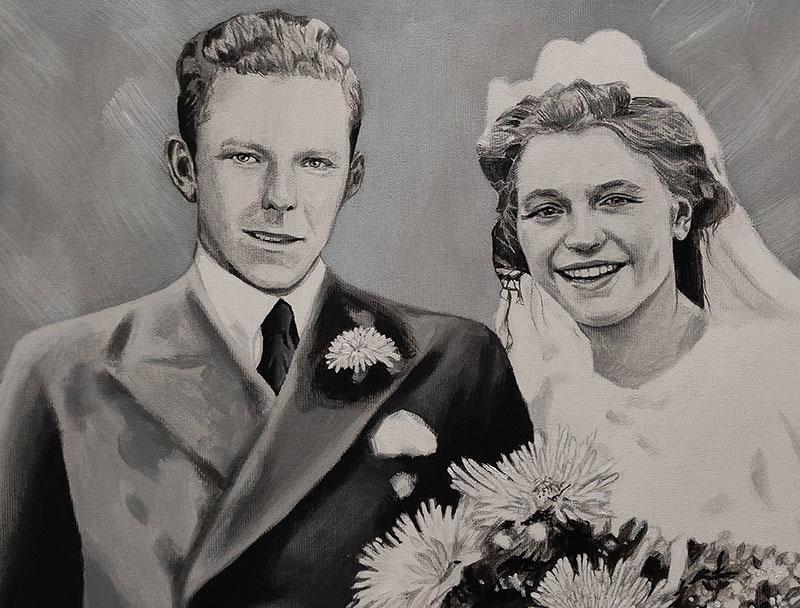 Beautiful vintage black and white wedding portrait