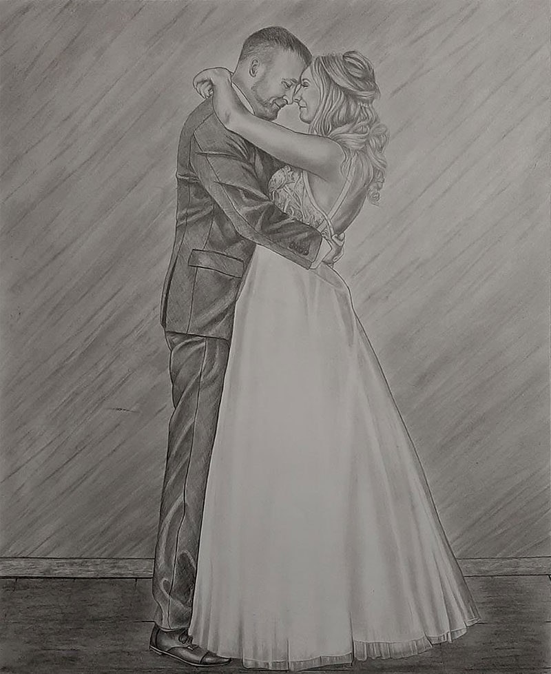 Gorgeous black pencil drawing of a just married couple