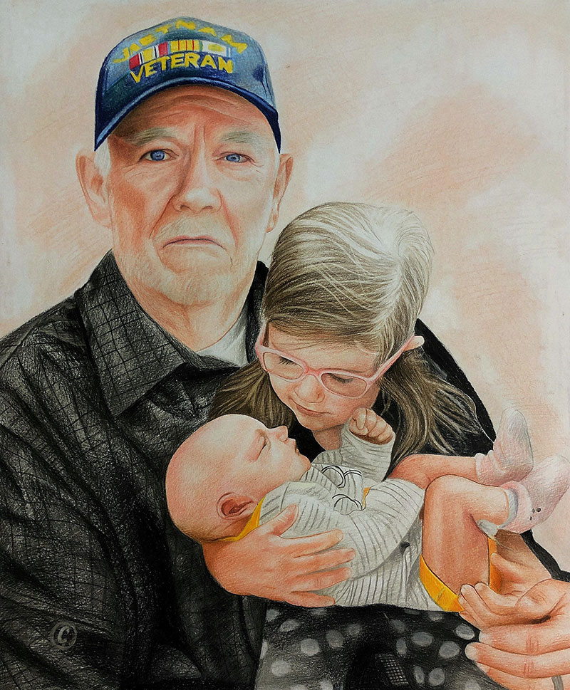 Beautiful color pencil painting of a grandfather with kids