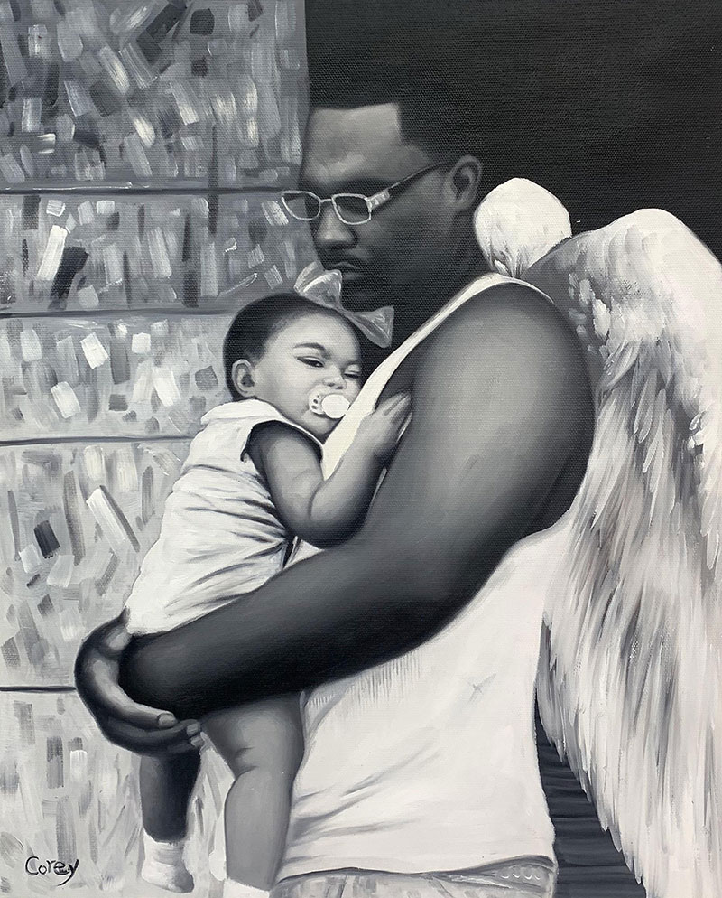 Gorgeous oil painting of a father and daughter