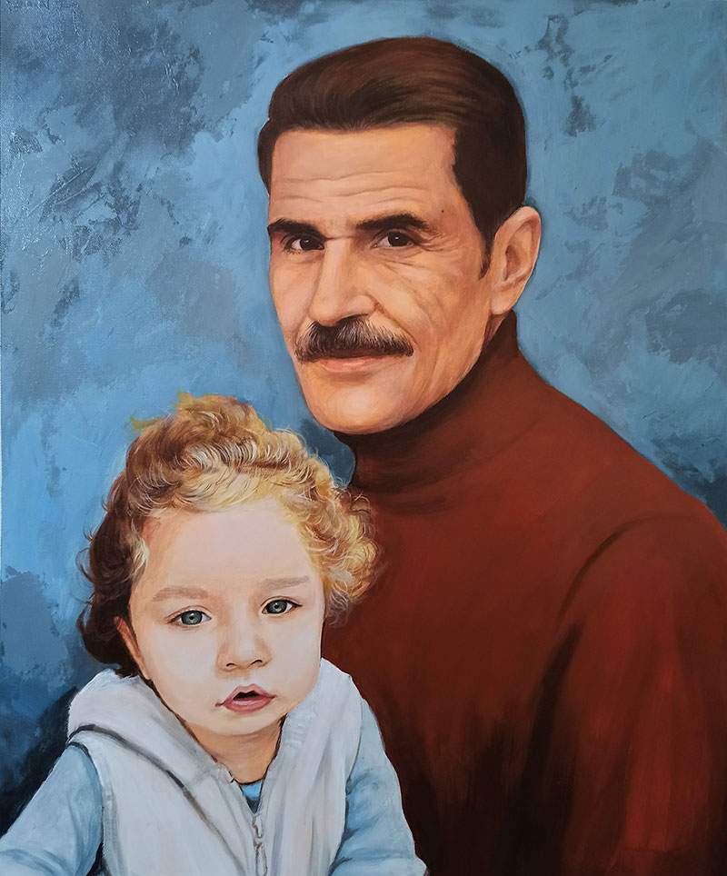 Beautiful oil painting of a grandfather with granddaughter