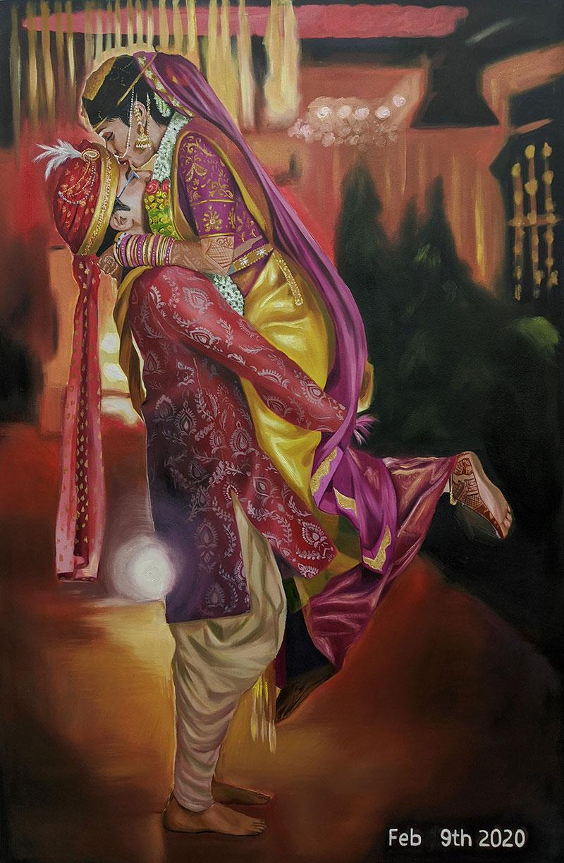 Gorgeous handmade oil portrait of an Indian wedding