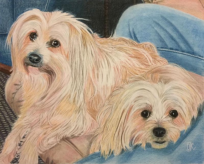 Custom handmade pastel painting of two dogs