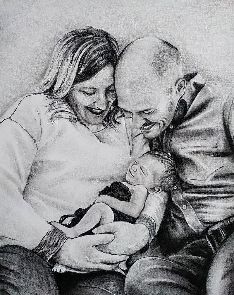 Beautiful black pencil portrait of parents with a newborn