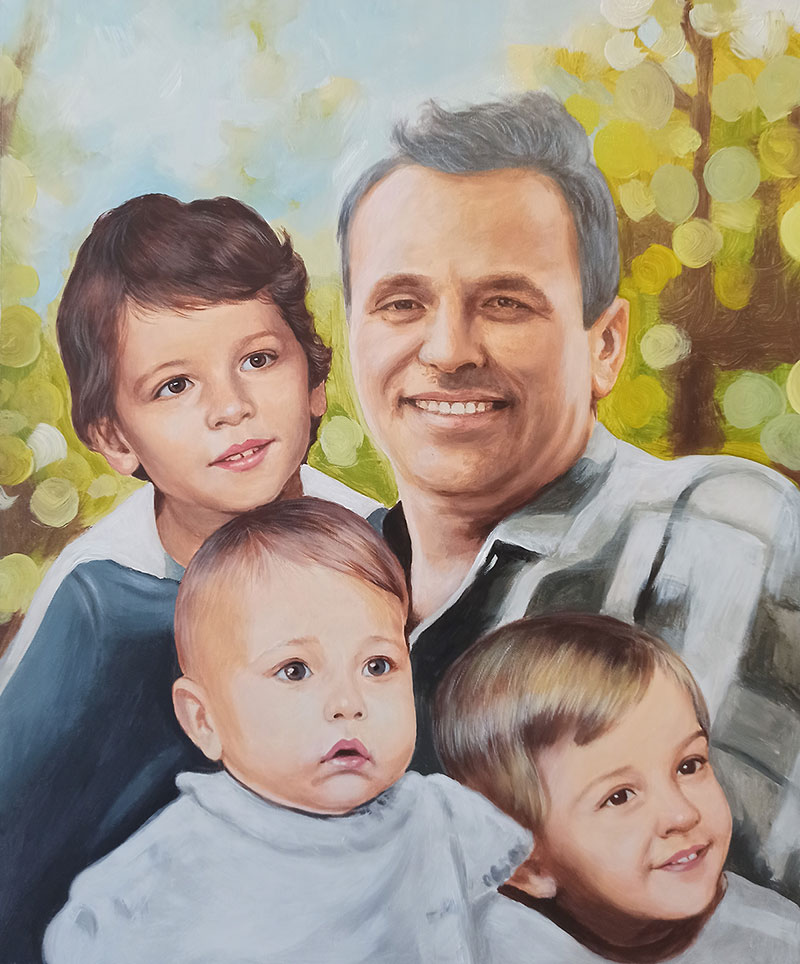 Beautiful oil painting of a grandfather with kids
