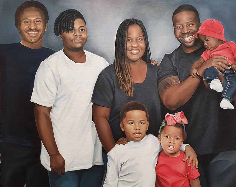 Gorgeous family portrait in oil