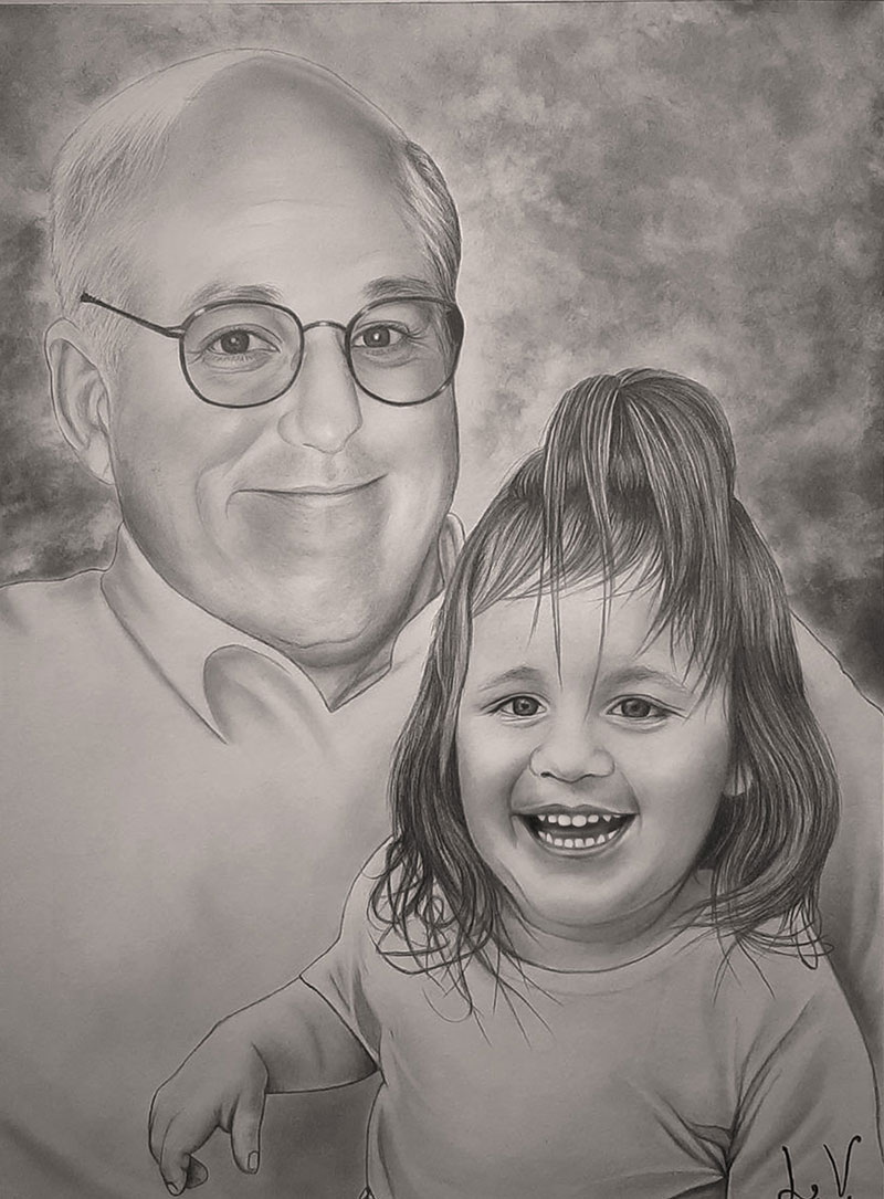 Beautiful black pencil drawing of a grandfather and a child