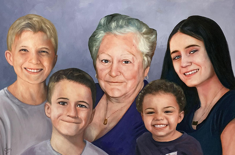 Custom oil painting of a grandmother with grandchildren