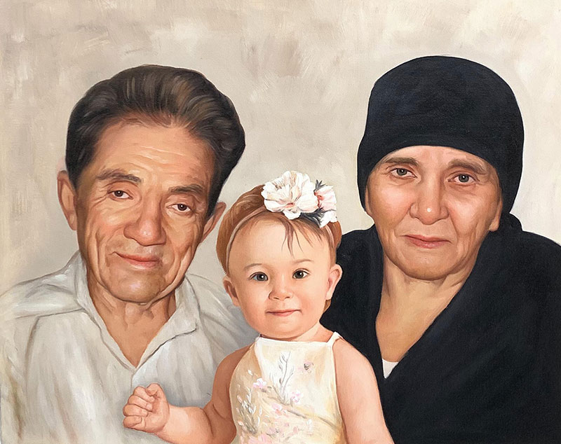 Custom oil painting of a grandparents with grandchild