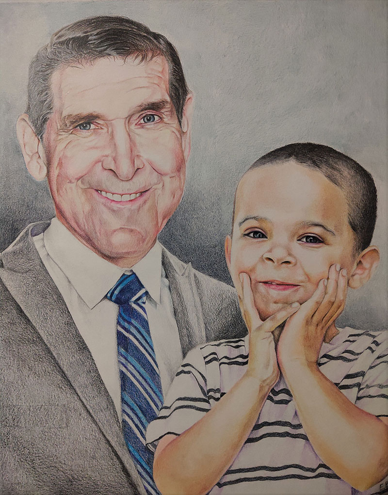 Custom color pencil drawing of a grandfather with a grandson