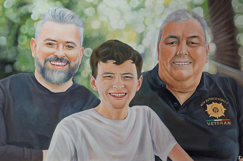 Beautiful handmade oil portrait of three generations