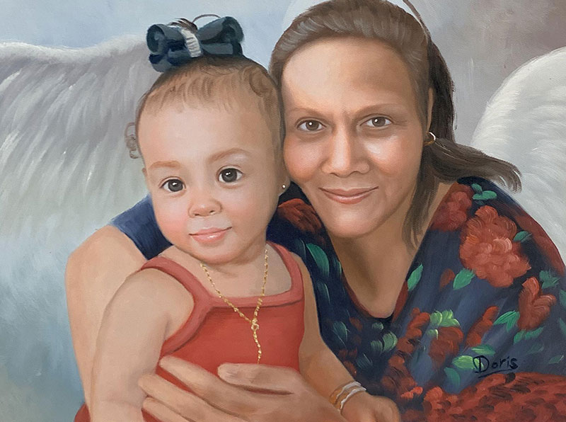 Beautiful oil painting of a grandmother with a granddaughter