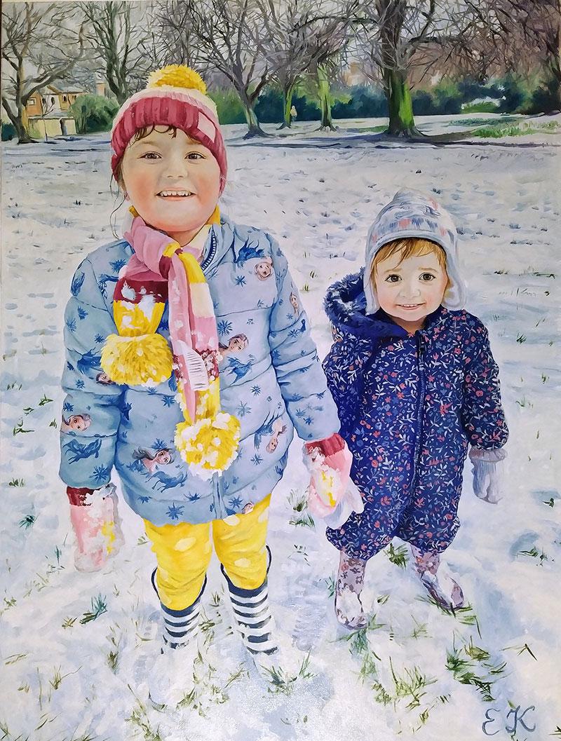 Gorgeous handmade oil artwork of two children