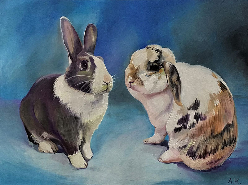 Custom handmade oil painting of two rabbits