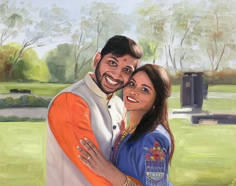 Beautiful handmade acrylic painting of a couple