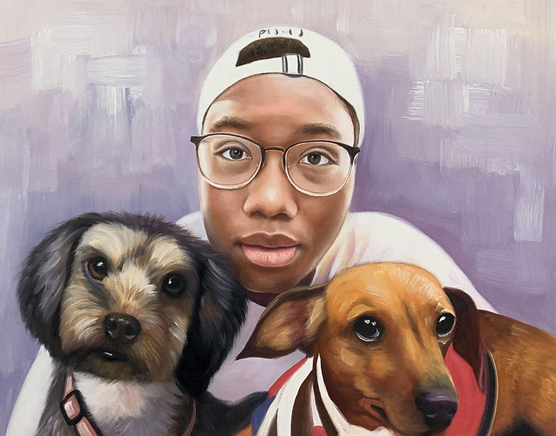 Custom handmade acrylic painting of an adult with two dogs