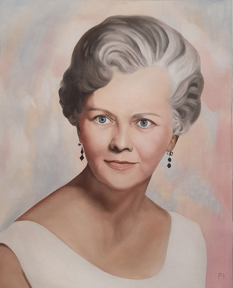 Beautiful vintage oil portrait of a lady