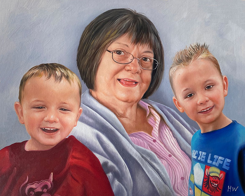Beautiful handmade oil painting of a grandmother with kids