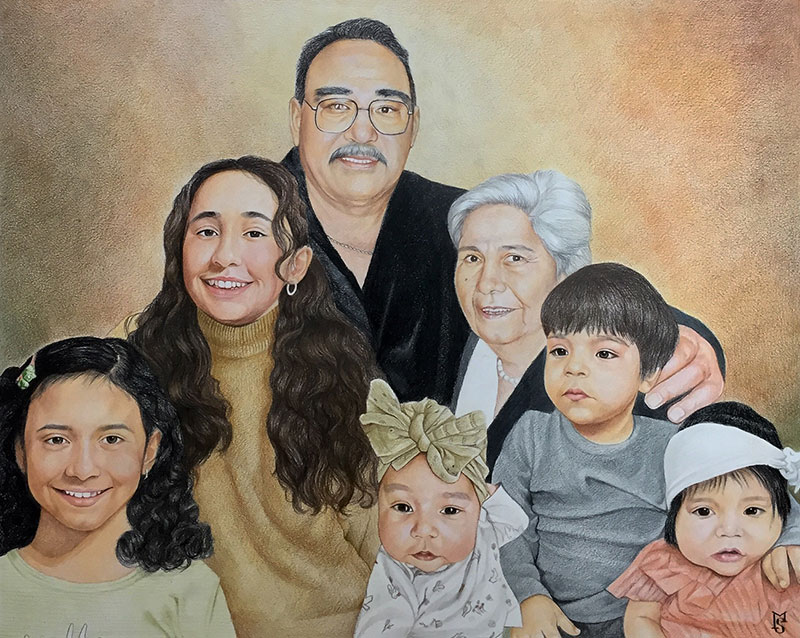 Beautiful color pencil drawing of grandparents and kids