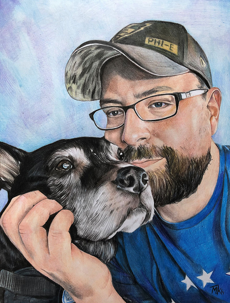 Beautiful color pencil drawing of an adult with a pet