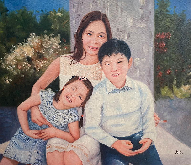 Beautiful oil painting of a mother and children