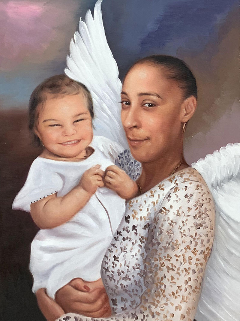 Beautiful memorial painting of a grandmother holding a baby