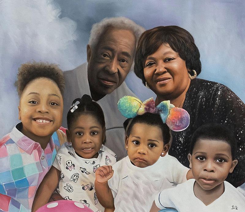 Beautiful acrylic painting of grandparents and grandchildren