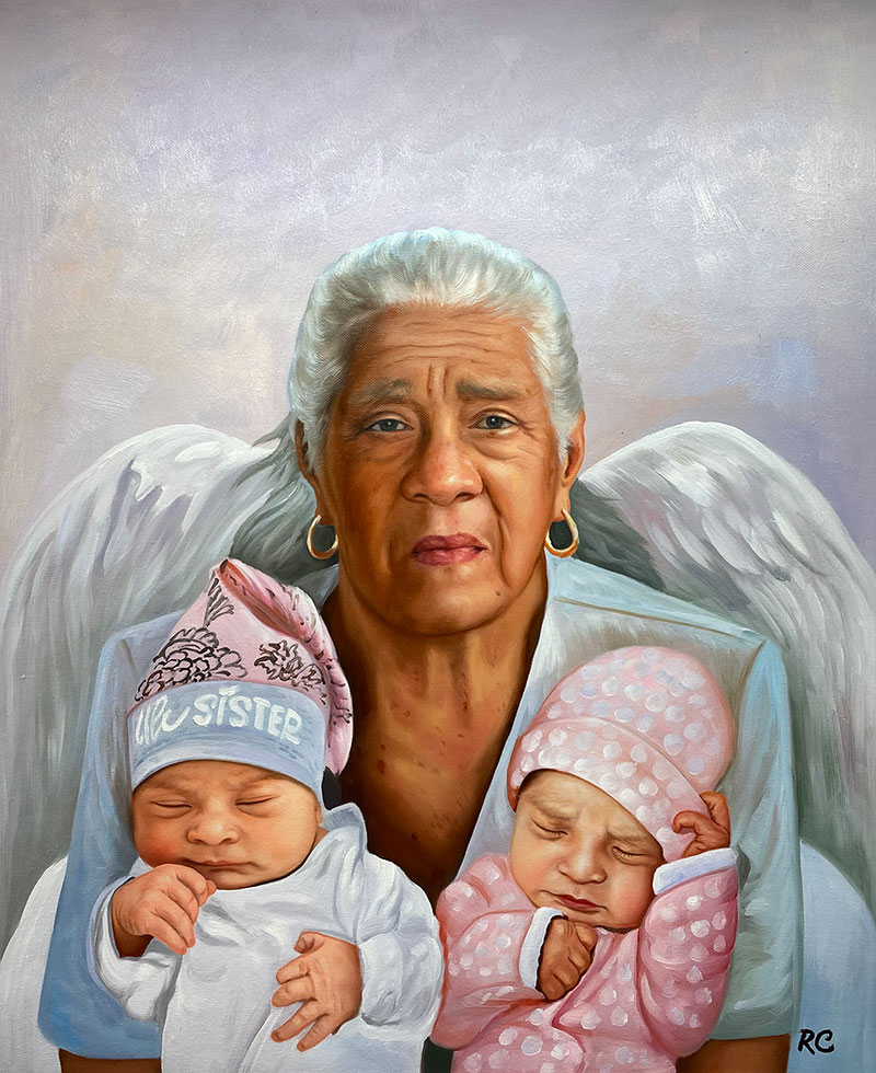 Gorgeous memorial painting of a grandmother with kids