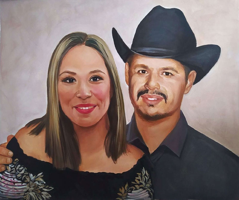 Beautiful handmade oil painting of a father and daughter