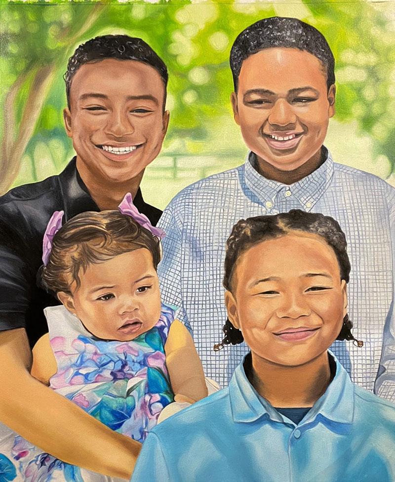 Custom handmade oil painting of four children
