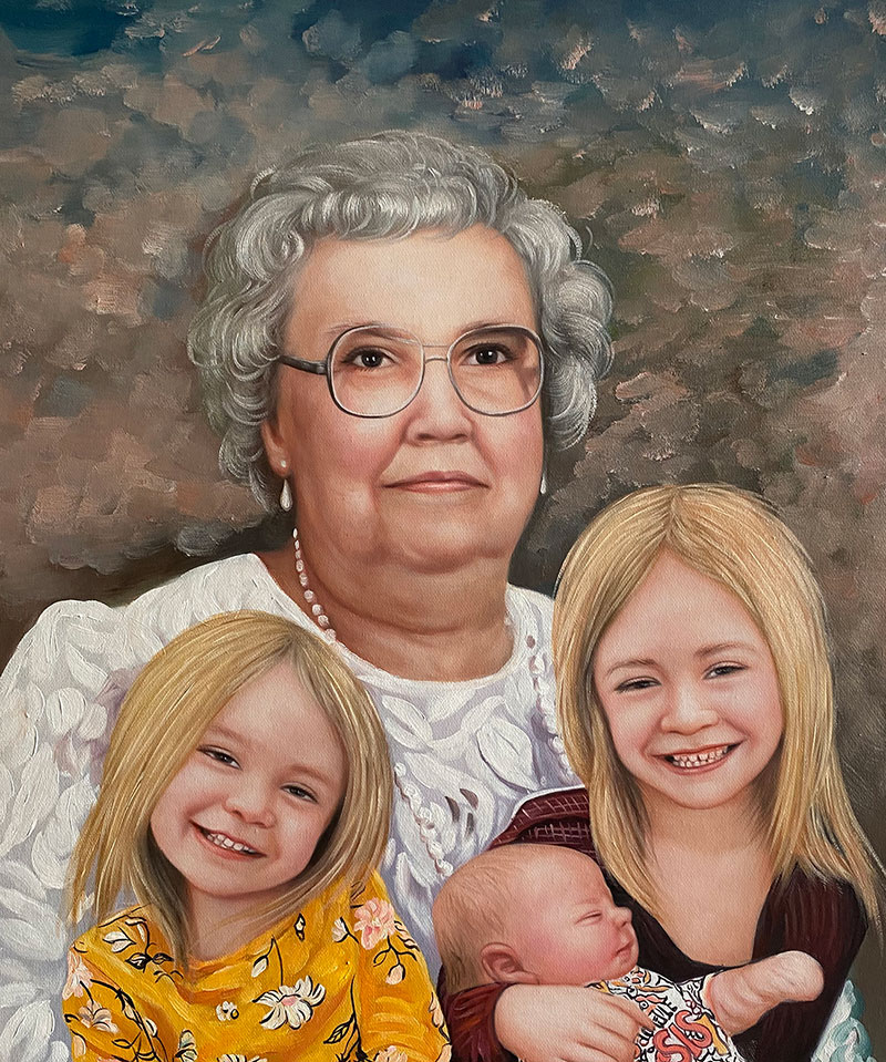 Custom acrylic painting of a grandmother and grandchildren