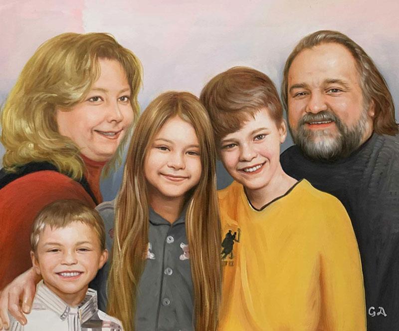 Beautiful oil painting of grandparent and grandchildren