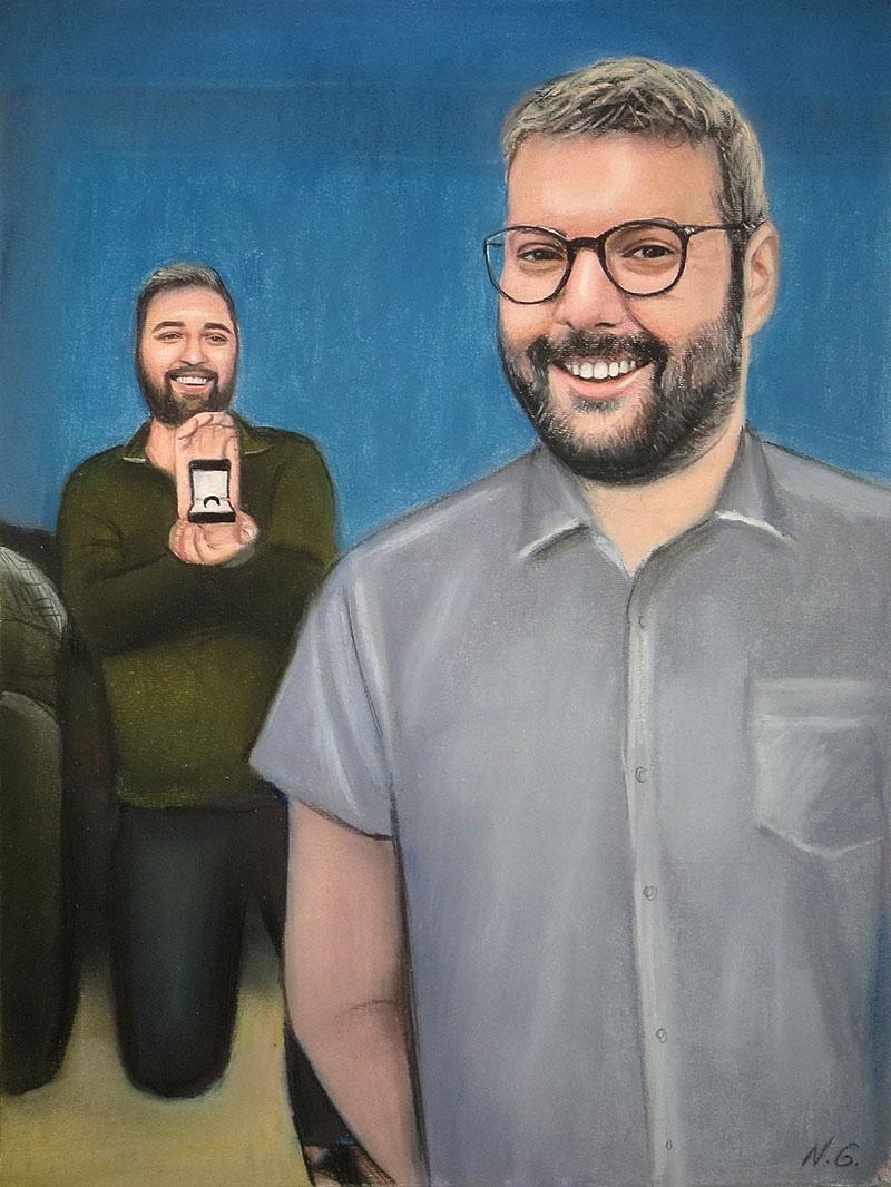 Custom handmade pastel painting of a couple