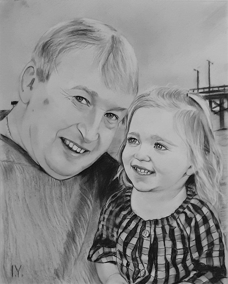 Custom handmade charcoal drawing of a family