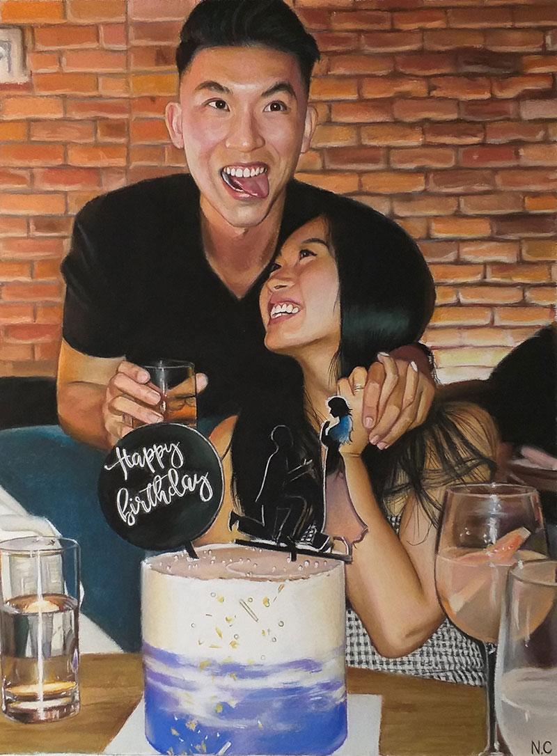 Beautiful handmade pastel artwork of a couple