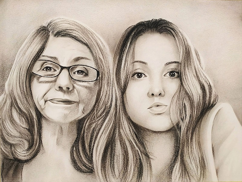 Beautiful charcoal drawing of a grandmother and grandchild