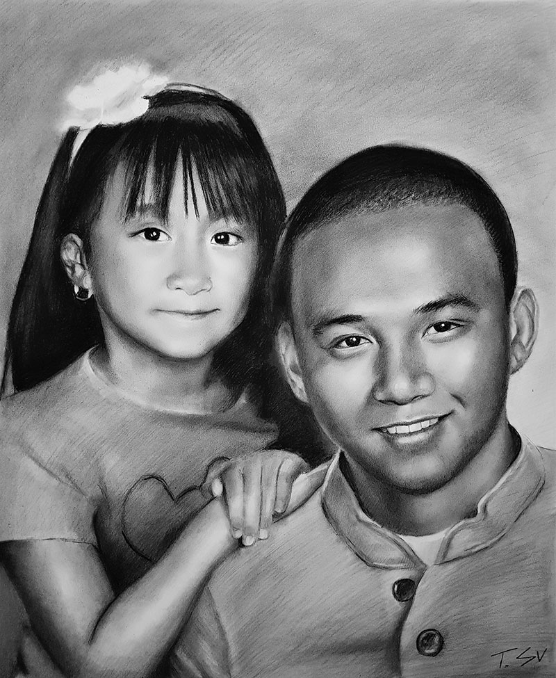 Custom handmade charcoal drawing of two children