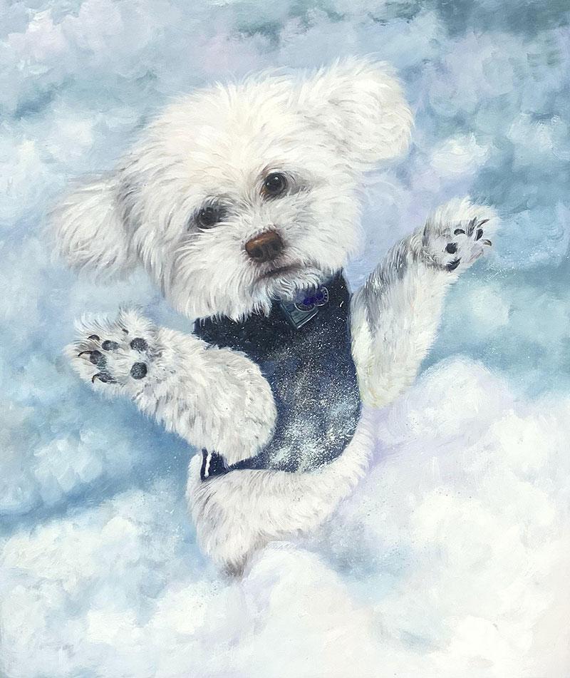 Custom handmade oil painting of a cute dog