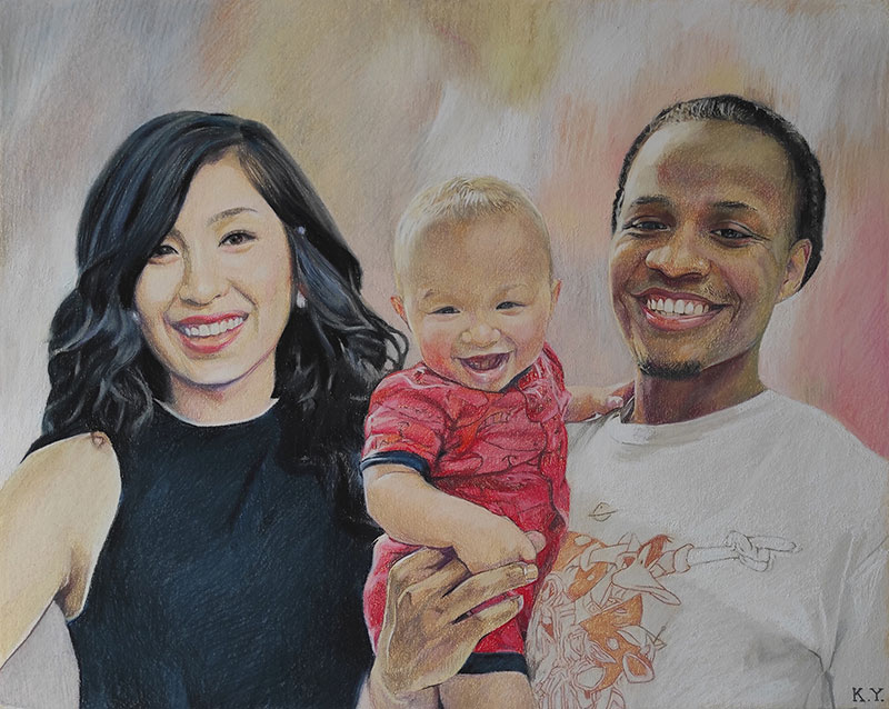Gorgeous pastel painting of parents and child