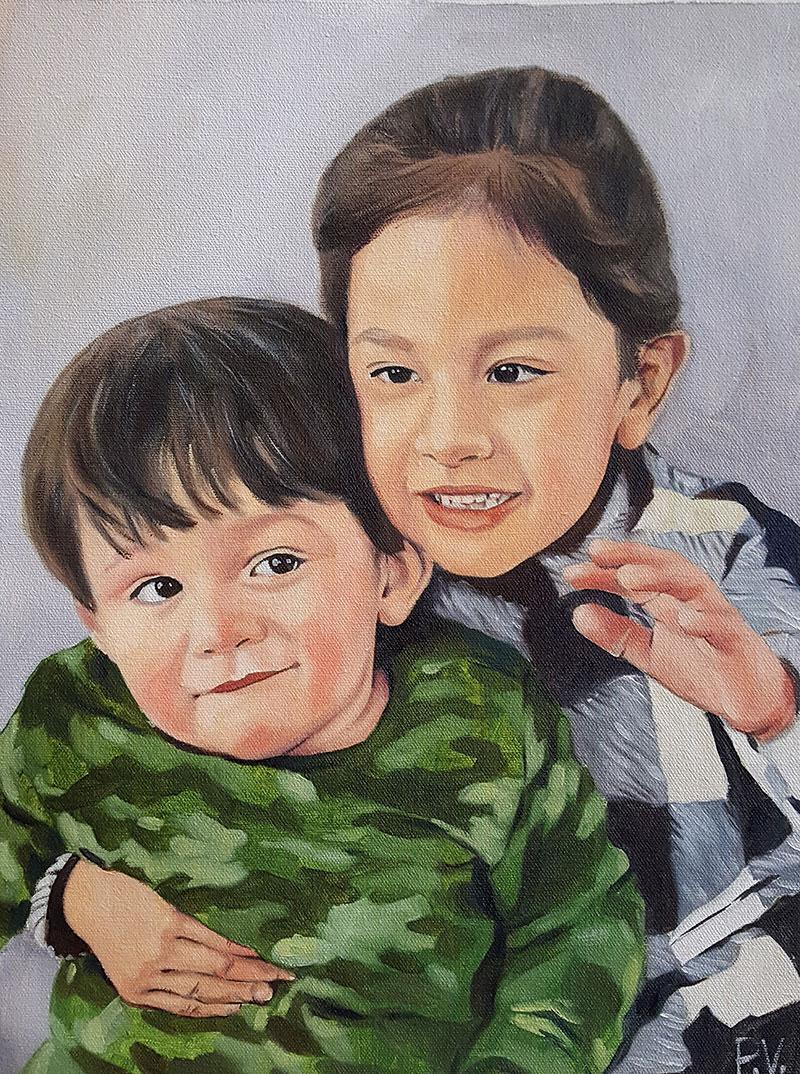 Custom handmade oil painting of twochildren