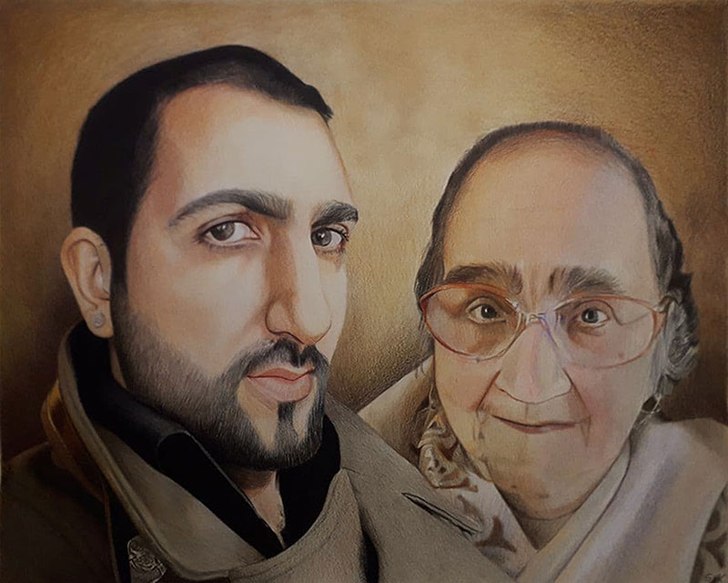 Beautiful color pencil drawing of a mother and son