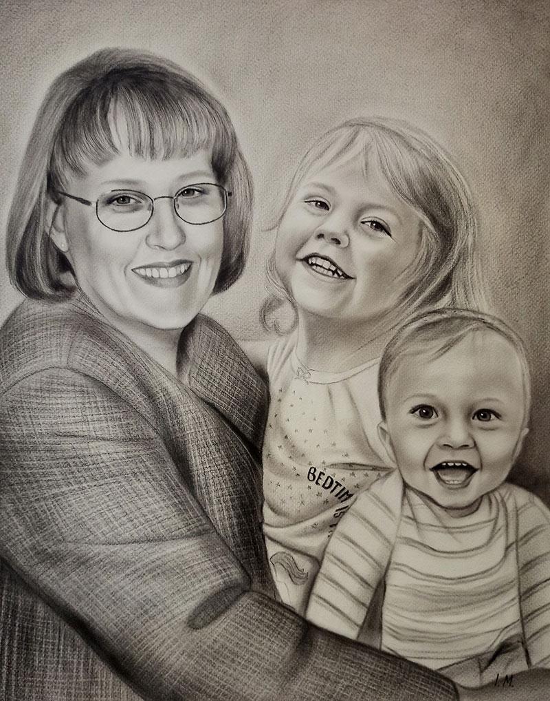 Custom handmade charcoal drawing of a grandmother and kids