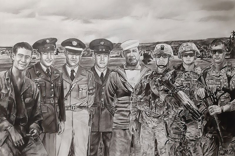 Beautiful handmade charcoal drawing of veterans