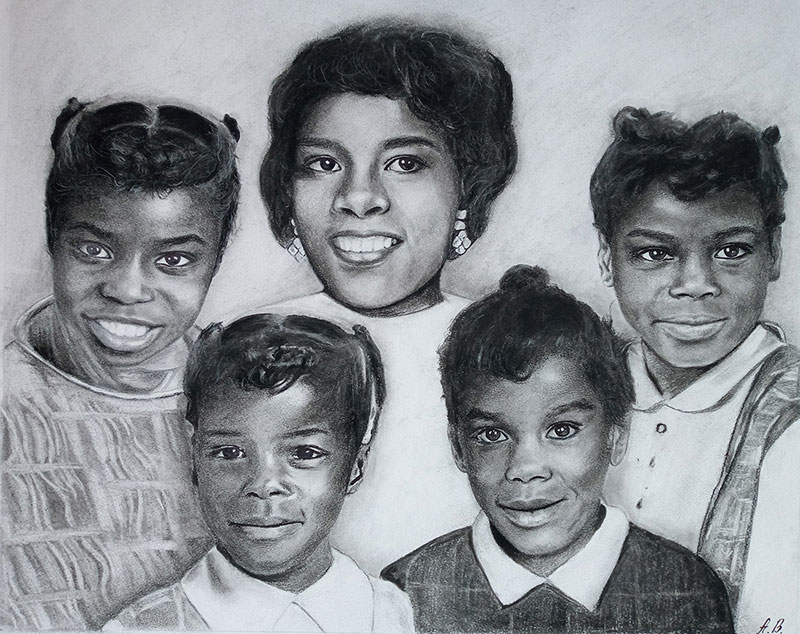 Beautiful charcoal drawing of  a mother and five children